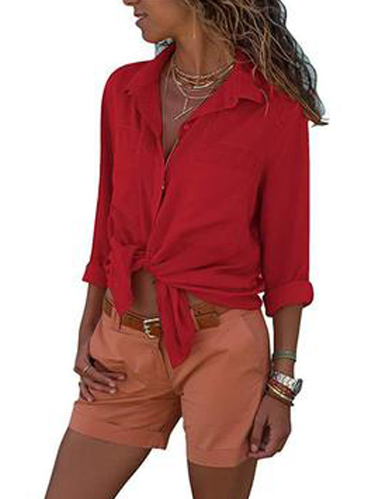 Lapel Solid Plain Thin Women Shirt