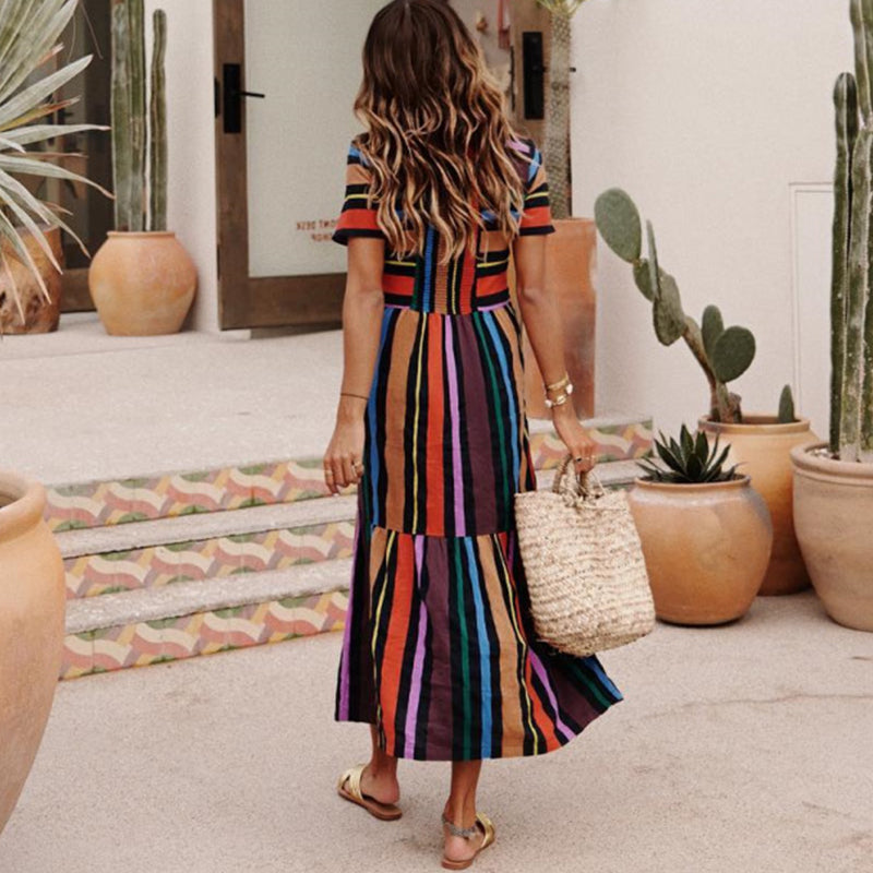 Bohemian Striped Multicolor Length Dress