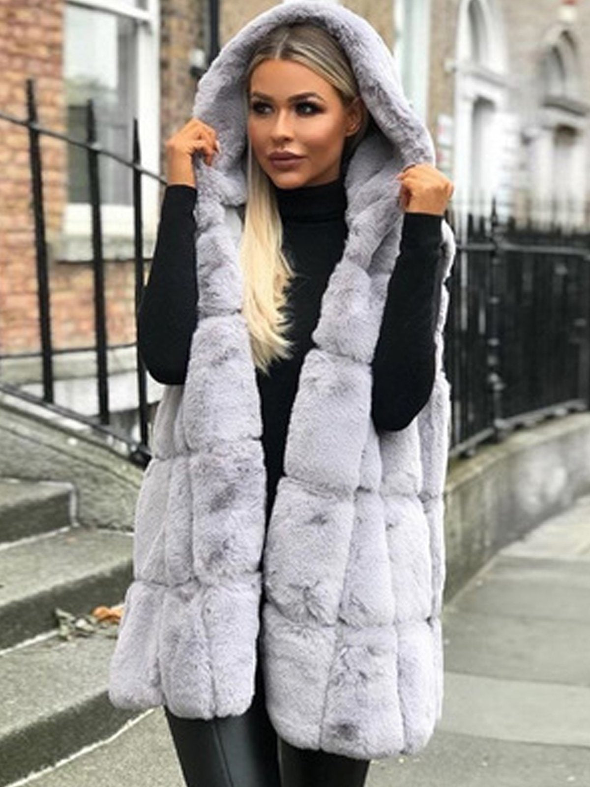 Plus Size Faux Fur Solid Hood Warm  Vest