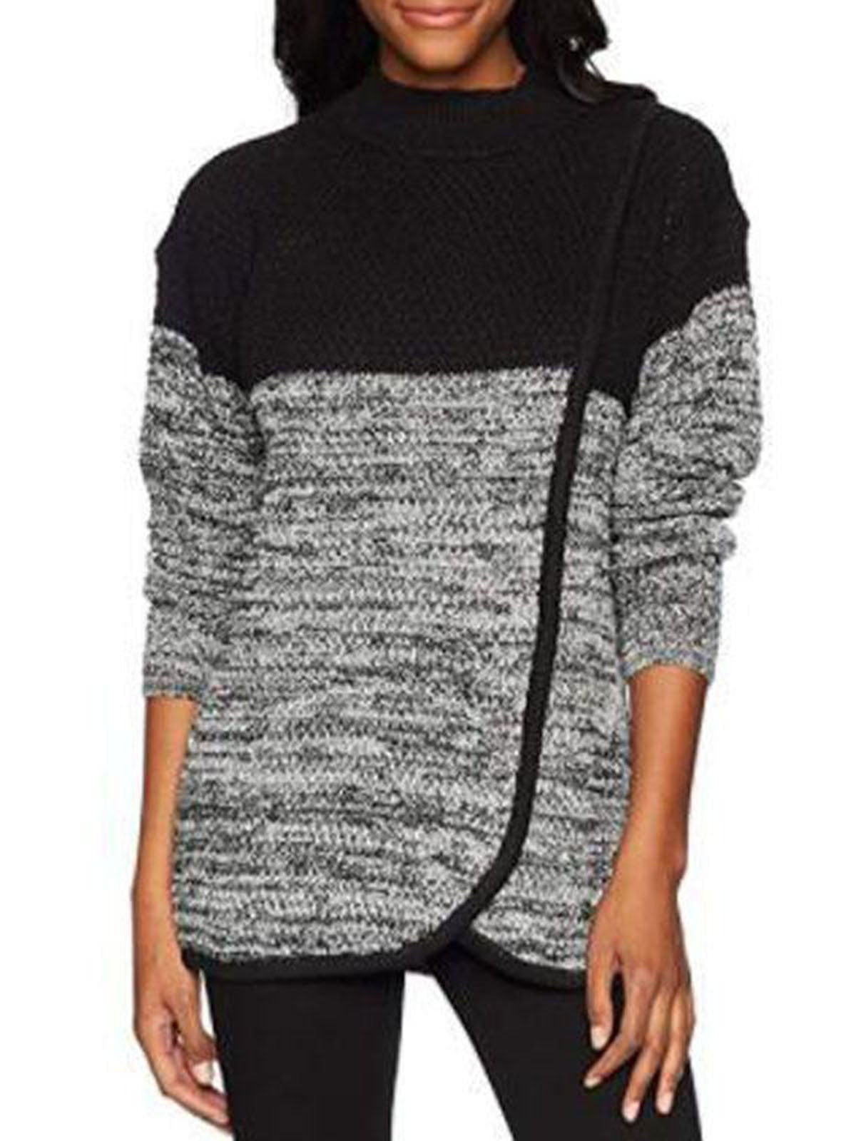Cowl Neck Patchwork Asymmetrical Hem Sweatershirts
