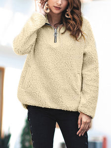Lapel Collar Zipper Casual Sweater
