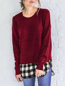 Long Sleeve Plaid Patchwork T-shirt
