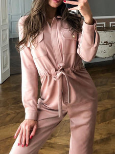 Pink Solid Pockets Casual Jumpsuits