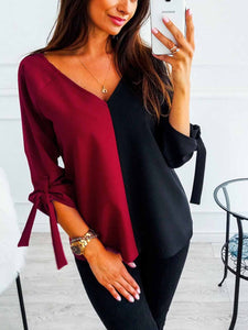 V Neck Lace Up Patchwork Plain Blouse