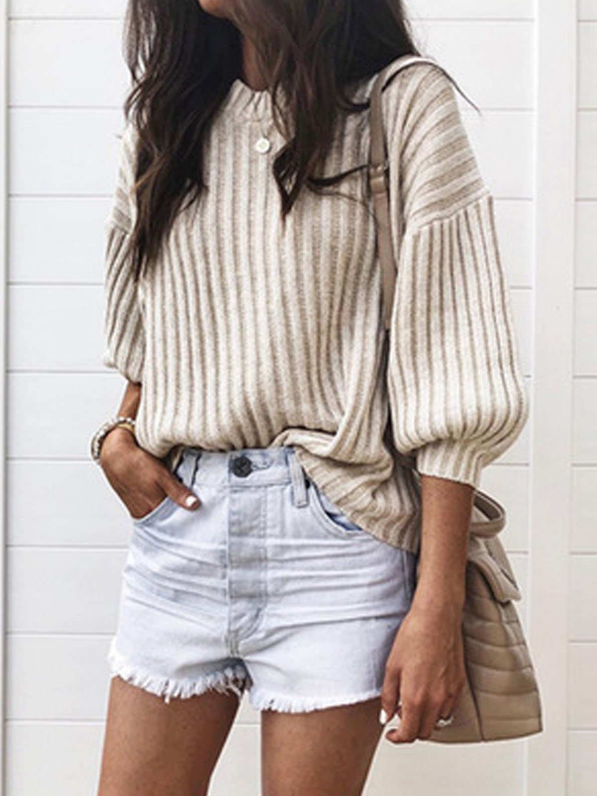 Solid Loose Casual Women Knit Sweater