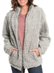 Stand Collar Zipper Fleece Women Cardigan Hoodie