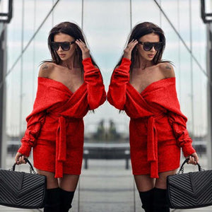 Irregular Off Shoulder Lace-up Dress