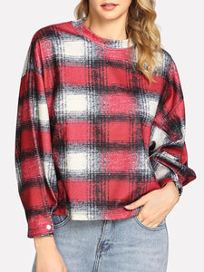 Round Neck Plaid Casual Sweater