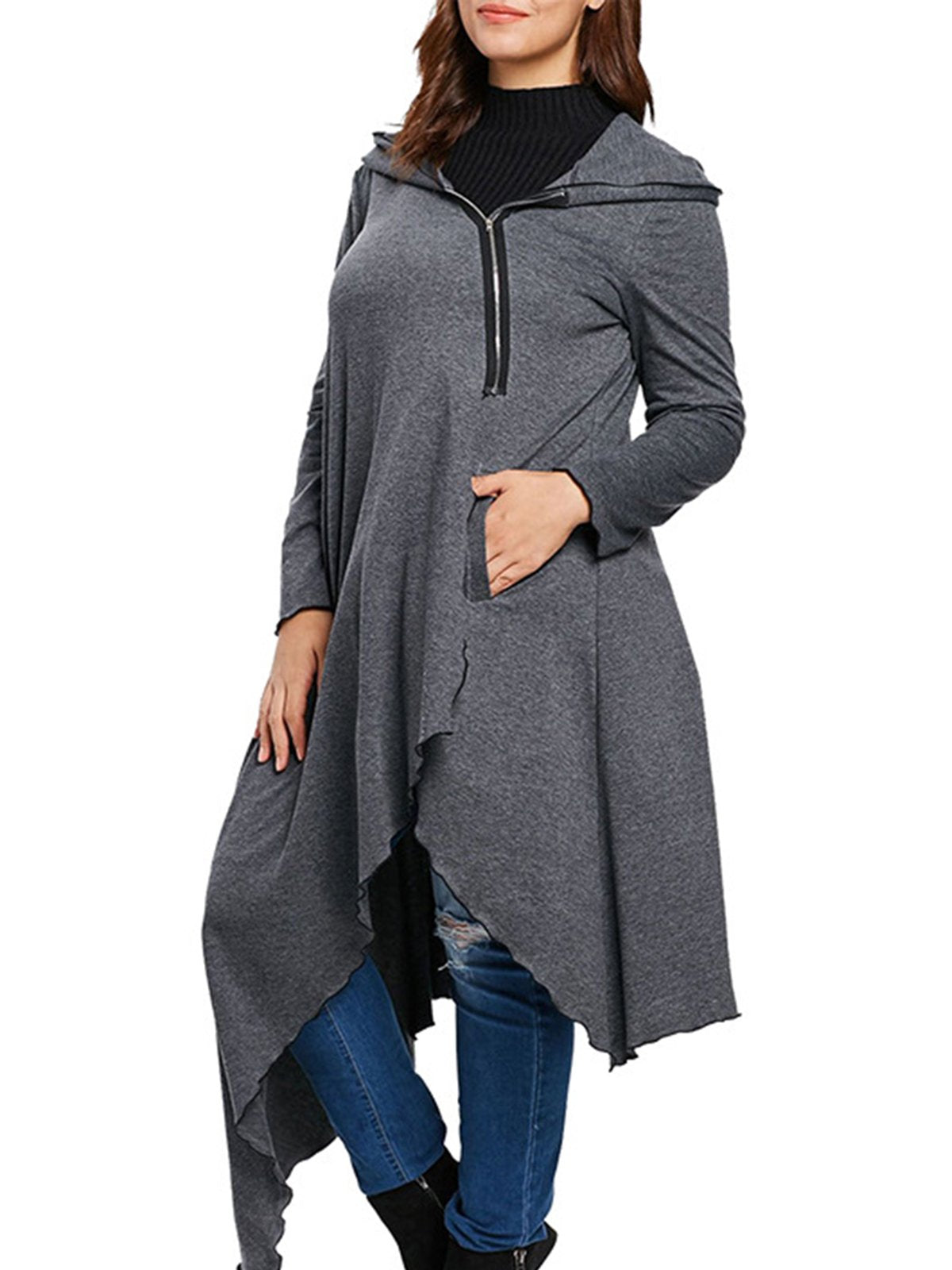 Gray Hoodie Long Sleeve Solid Asymmetric Coats