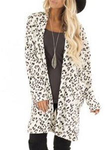 White Leopard Print Pockets Long Sleeve Cardigans