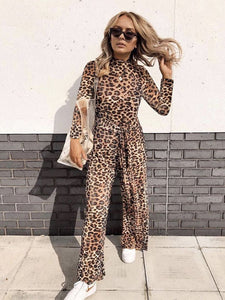 Leopard Slim Lace-up Jumpsuit