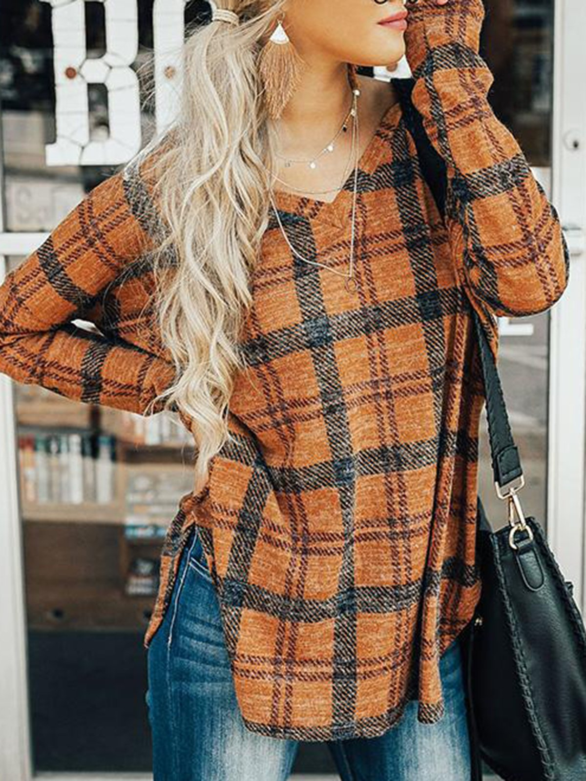 Long Sleeve Casual V neck Printed Gingham T-Shirt