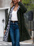 Long Sleeve Leopard Print Lapel Coat