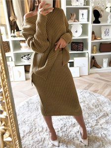 Camel One Shoulder Slit Sheath Suit Set
