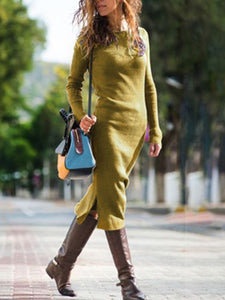 Round Neck Plain Long Sleeve Casual Dress