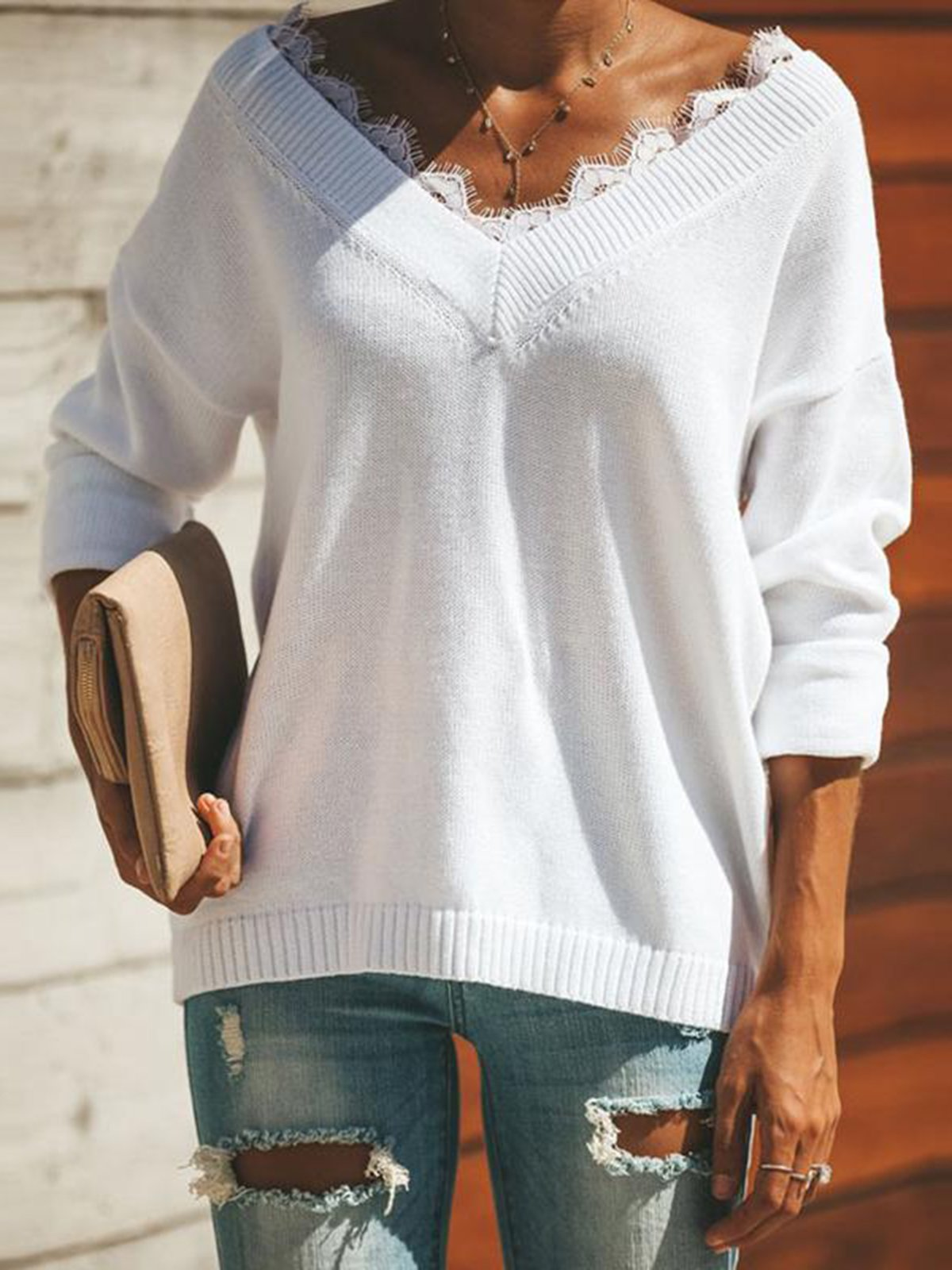 Fashion V Neck Lace  Long Sleeve Casual Sweater