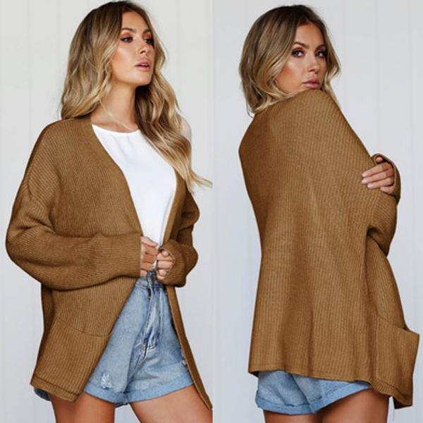 Solid Cardigan Loose Women Knit Coat
