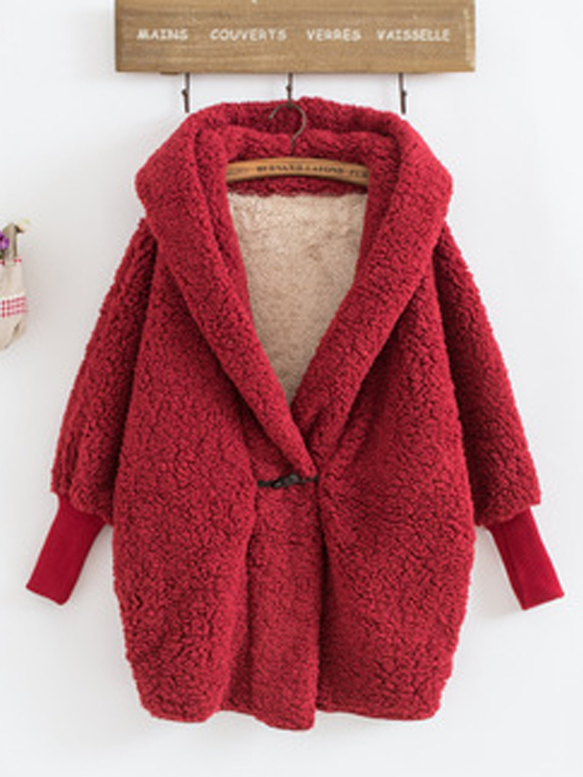 Oversize Fleece Button Warm Coat
