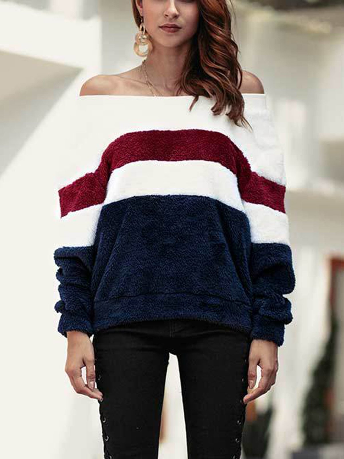 Striped Patchwork Casual Warm Sweater