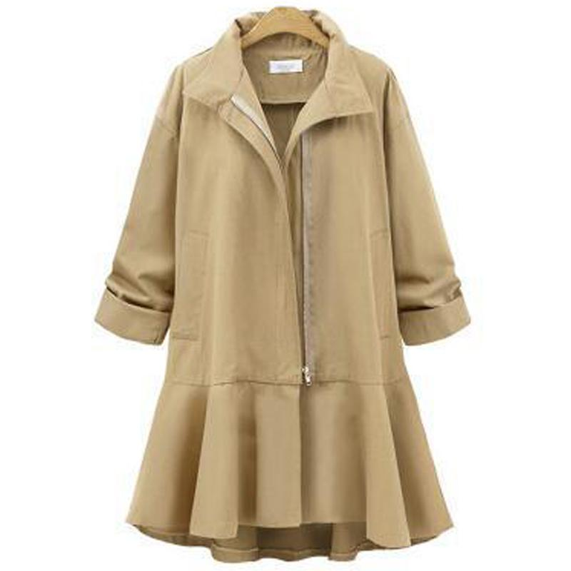 Plus Size Loose Solid Zipper Mid Pattern Trench Coat