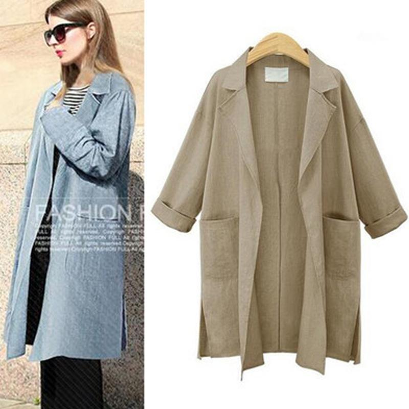Mid Pattern Cotton Linen Solid Thin Trench Coat