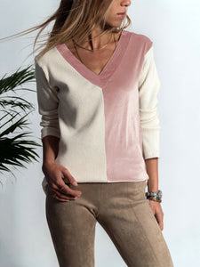 V Neck Patchwork Casual Sweatershirt