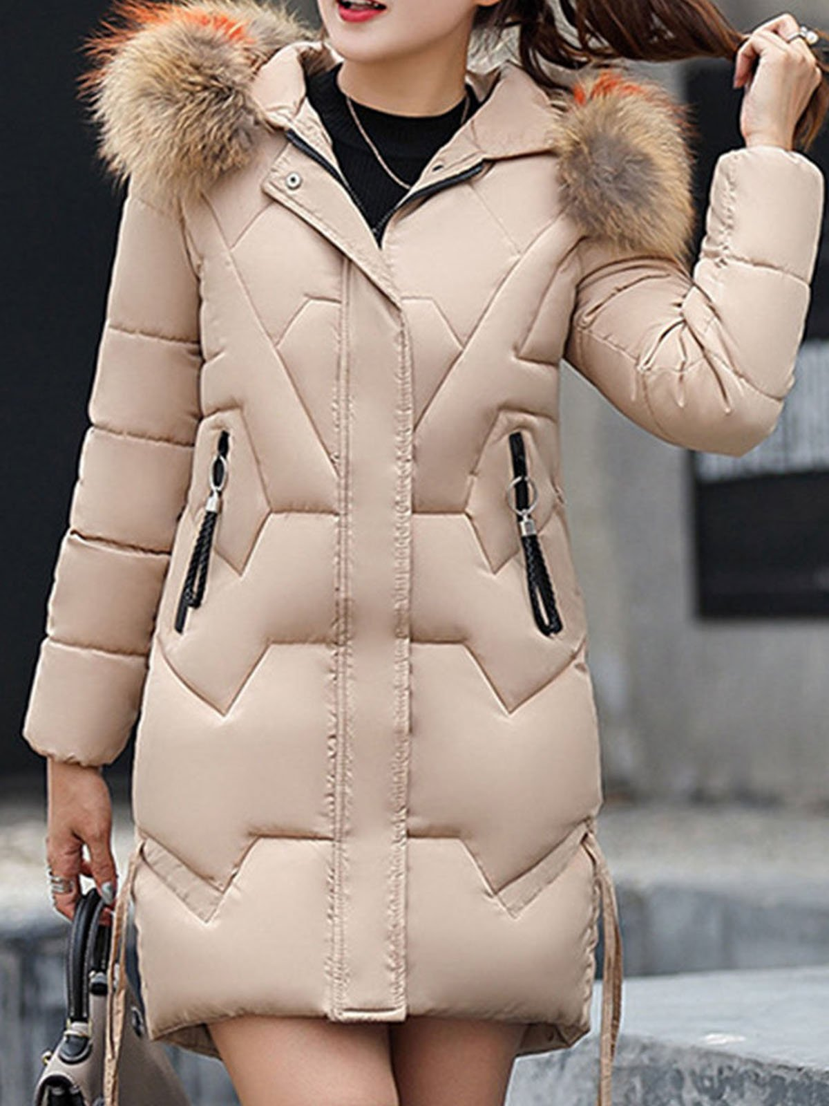 Faux Fur Hooded Solid Color Coats