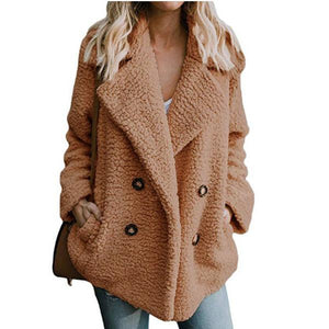 Fashion Button Suit Collar Pocket Woolen Sweater Women's Jacket