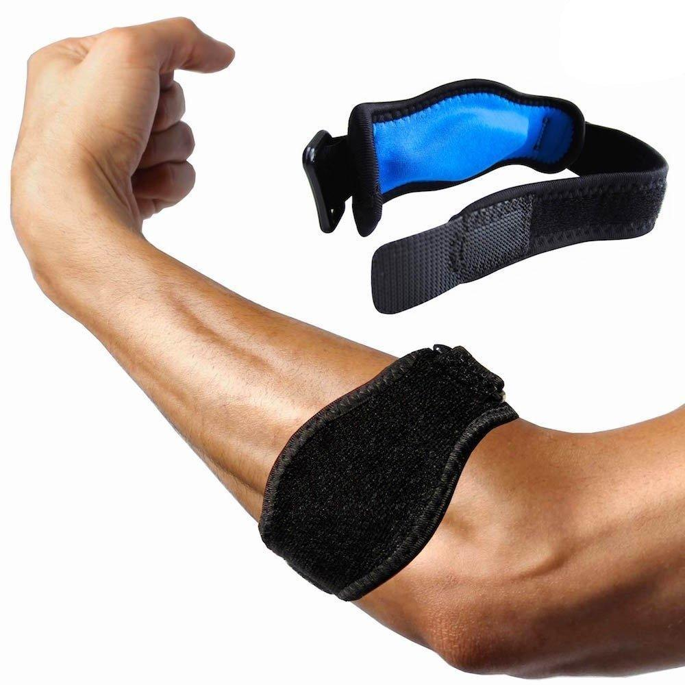 Elbow Brace for Tennis & Golfers Gel Compression Band Adjustable Strap
