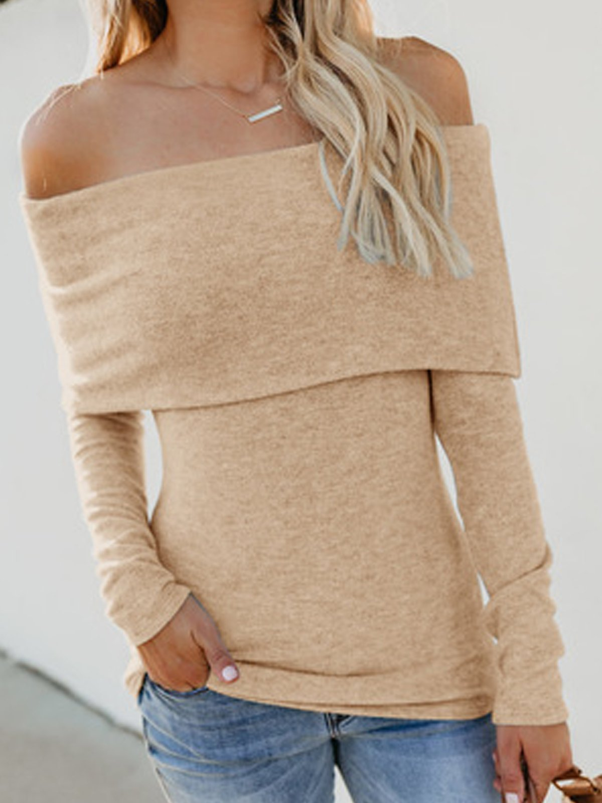 Bateau Neck Solid Slim Knit Sweater