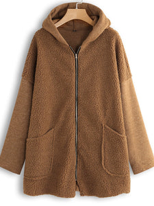 Fleece Solid Color Hooded Pockets Long Sleeve Coat