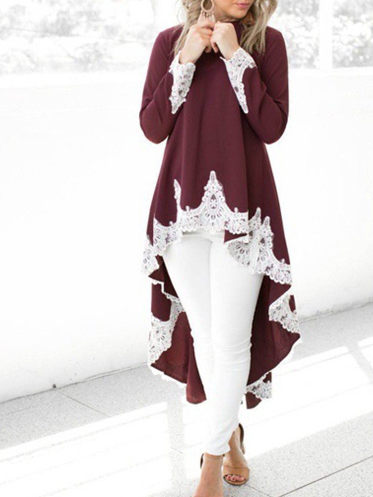 Round Neck Elegant Long Shirt