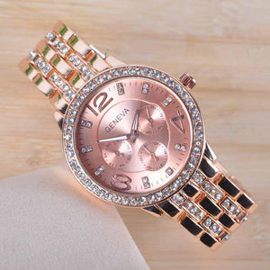 Rose Gold Rhinestone Watch