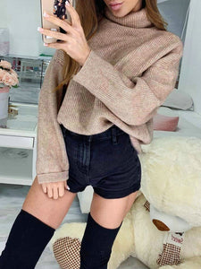 Solid Long Sleeve Cowl Neck Sweater