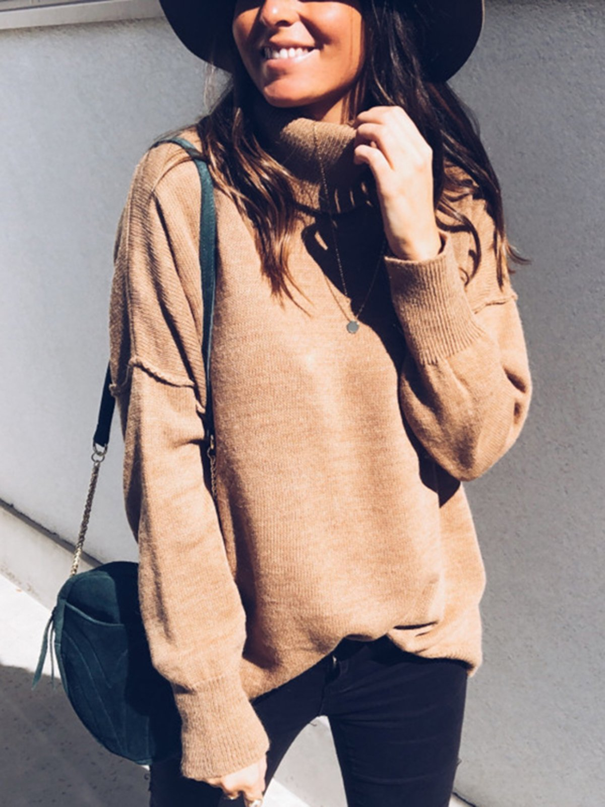 Solid Cowl Neck Casual Long Sleeve Sweater