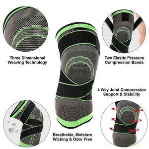 Knee Compression Sleeve Brace with Patella Stabilizer Straps