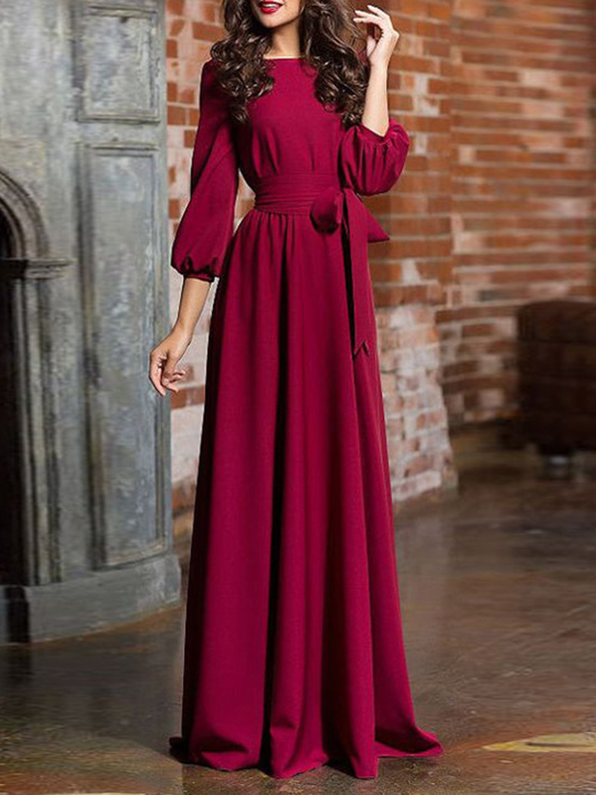 Swing Solid Casual Fall Dress