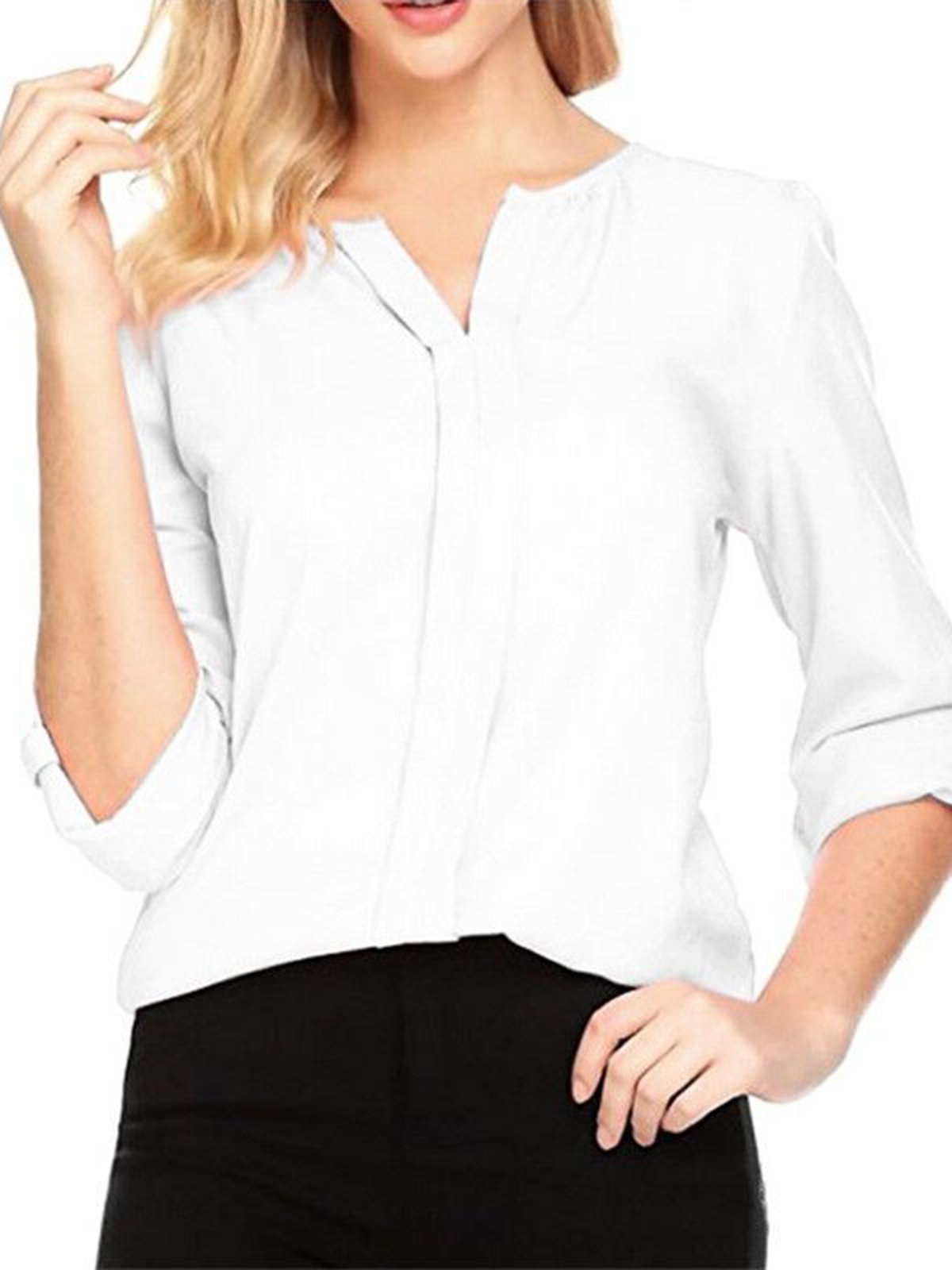 Solid Paneled Casual Blouse