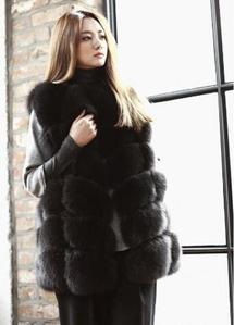 Collarless Fox Fur Vest
