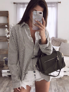 Striped Printed Turn-Down Collar Blouse