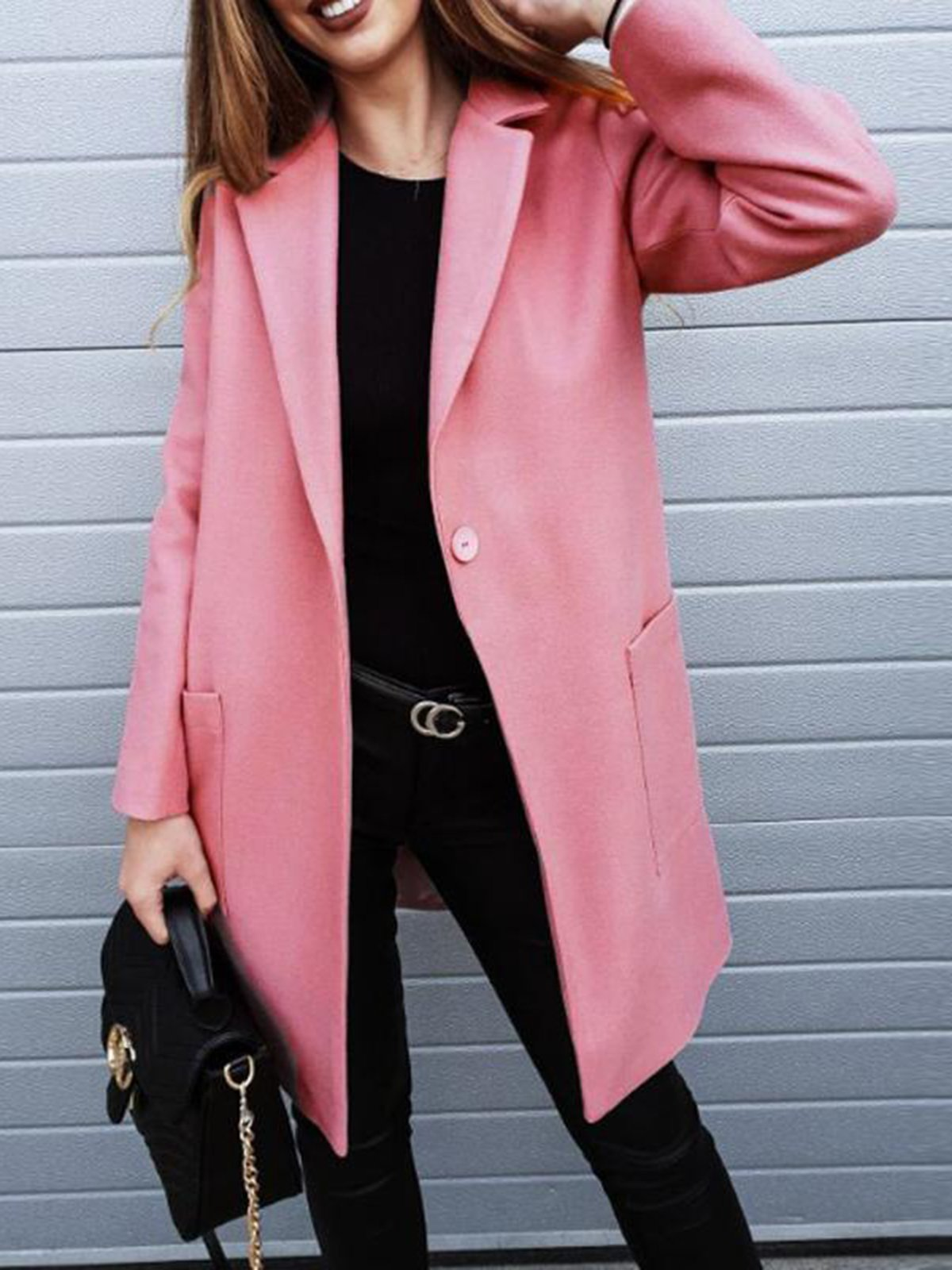 Lapel Pocket Button Plain Chic Trench Coat