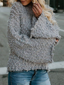 Bell Sleeve Crew Neck Paneled Sherpa Jumper Sweaters