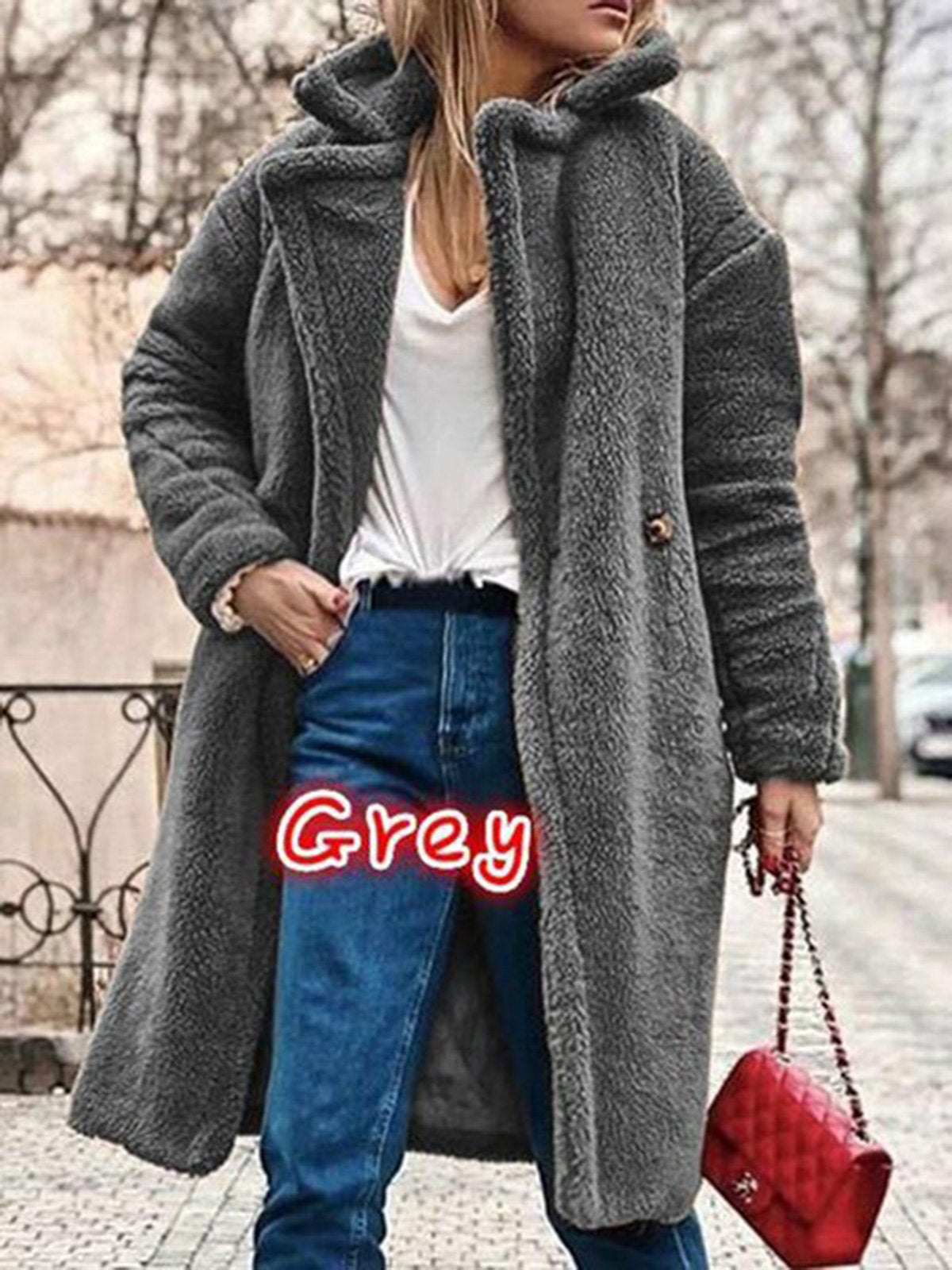 Buttoned Cashmere Long Sleeve Teddy Bear Coats
