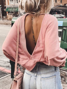 Patchwork Casual Round Neck Backless Hoodie