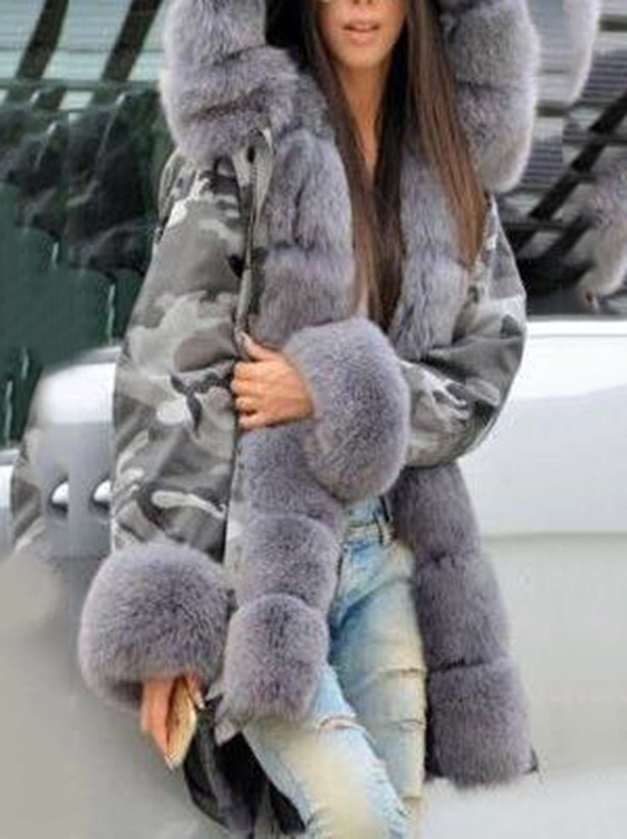 Warm Thick Parka Faux Fur Hooded Coat