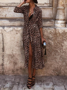 V Neck Vintage Leopard Print Slim Long Pattern Party Dress