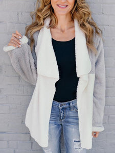 Fashion Color Block Asymmetrical Collar Cardigans
