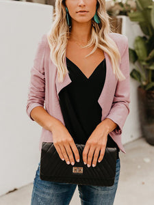 Solid Long Sleeve Casual Lapel Cardigans