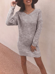 Sexy Backless Solid V Neck Sweater Dress