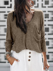 Solid Plain V-neck Casual Sweater
